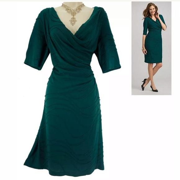 Dress Barn Dresses & Skirts - 14 Large XL▪️DARK GREEN TEXTURED DRESS Day/Evening